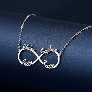 Personalized Infinity Four Names Necklace Sterling Silver 925 - myphotowears