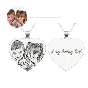 Custom Photo Engraved Heart Sterling Silver Necklace - myphotowears