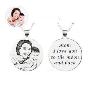Custom Photo Engraved Sterling Silver Necklace Gifts - myphotowears