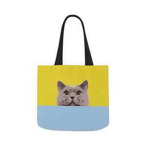 Custom Photo & Yellow and Blue Canvas Tote Bag - myphotowears