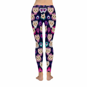 Custom Cat Face Peacock Feather Low Rise Leggings