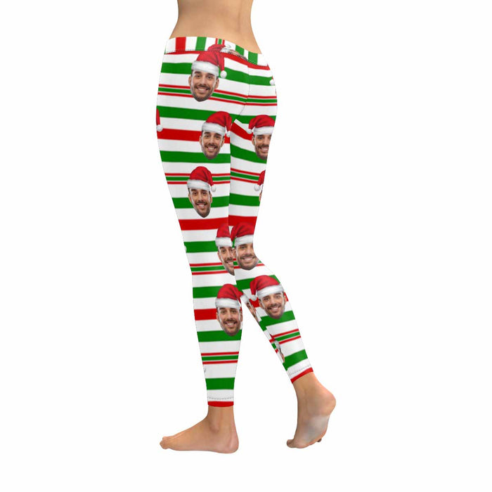 Custom Photo & Christmas Stripe Leggings