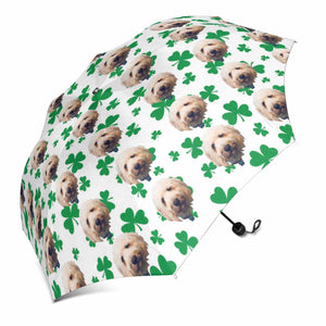 Custom Dog St. Patrick Shamrock Foldable Umbrella - myphotowears