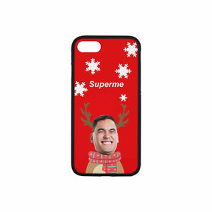 Custom Face Iphone Rubber Case (with Hard Plastic Back) - Christmas Snowflake - myphotowears