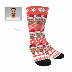 Custom Photo & The Man In The Santa Hat Socks - myphotowears