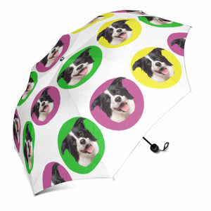 Custom Dog's Face & Color Dot Print Sun & Rain Foldable Umbrella - myphotowears
