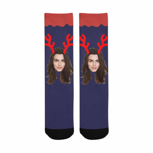 Custom Photo & Antlers Socks - myphotowears