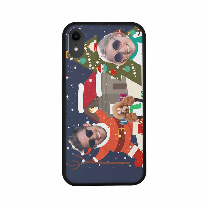 Custom Face Iphone Rubber Case (with Hard Plastic Back) - Christmas house