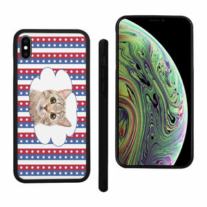 Custom Photo Rubber Iphone XR/XS Max/7/8 Cases-Cat's Face & Stars & Stripes Print - myphotowears