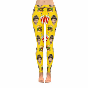 Custom Photo & Burger French Fries Low Rise Leggings - myphotowears