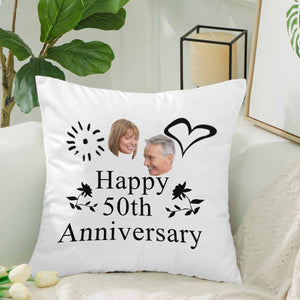 Custom 50 Years Anniversary Of Marrying Photo Pillow Case - myphotowears