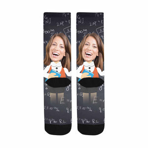 Custom Face & Female Teacher Print Sublimated Crew Socks - myphotowears