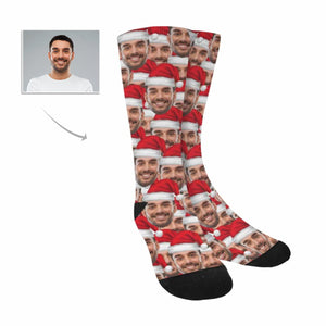 Custom Photo & Lots Of Santas Socks - myphotowears