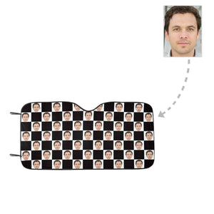Custom Boyfriend Face Black&White Grid Auto Sun Shade