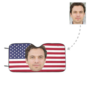 Custom Boyfriend Face American Flag Auto Sun Shade