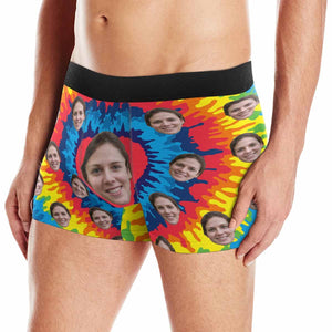 Custom Girlfriend Face Colorful Love Heart Men's All-Over Print Boxer Briefs