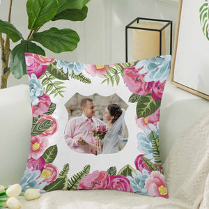 Custom Wedding Photo And Flowers Patterns Pillow Case - myphotowears
