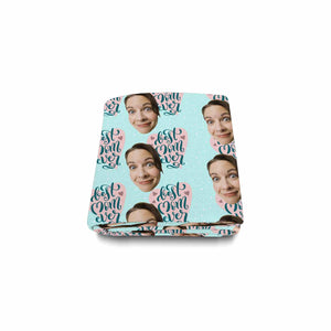 Custom Women's Face And 'Best Mom Ever' Patterns Woolen Blanket - myphotowears