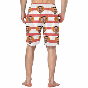 Custom Man's Face And Red Stripes Men's Swim Trunk - myphotowears