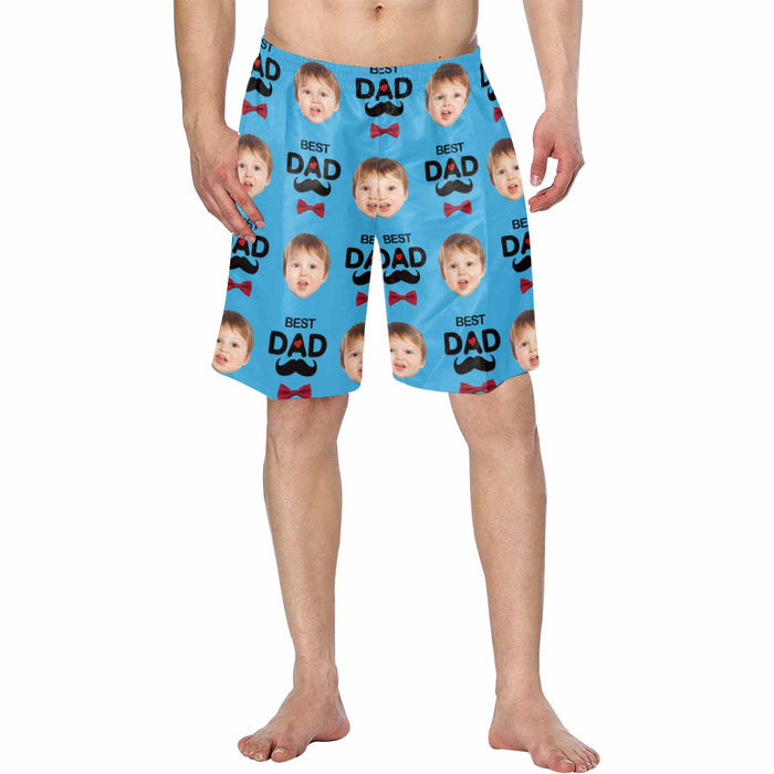 Custom Kid's Face And 'BEST DAD' Men's Swim Trunk Father's Day Gift