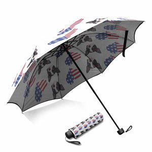 Custom Dog's Photo Sun & Rain Foldable Umbrella- Pet Face& American Flag - myphotowears