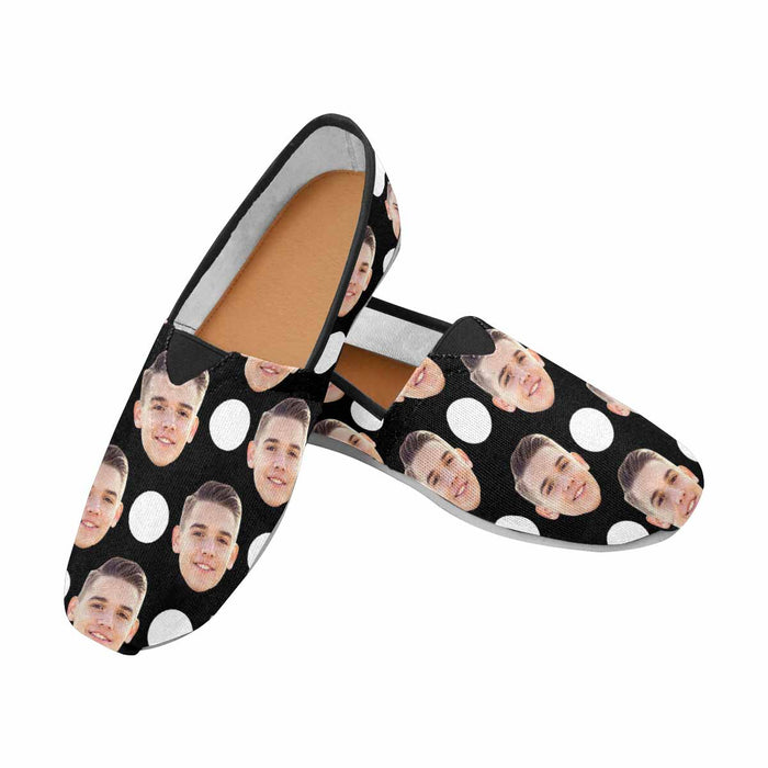 Custom Photo & Dot Casual Canvas Women's Shoes