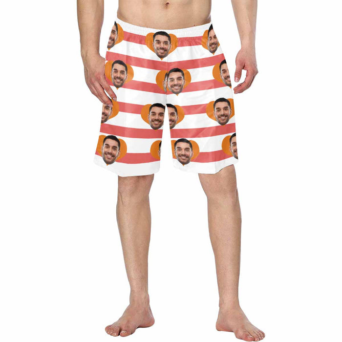 Custom Man's Face And Red Stripes Men's Swim Trunk