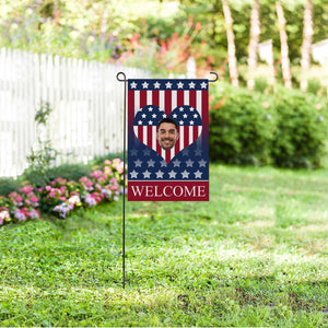 Custom Photo & Heart US Star Garden Flag - myphotowears