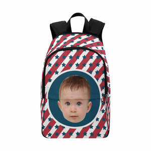 Custom Photo & Star & Stripe School Backpack - myphotowears