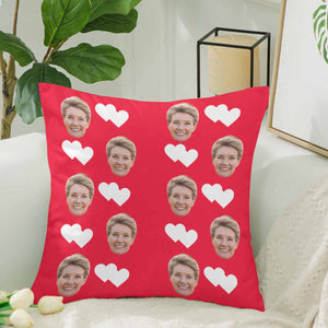 Custom Women's Face And White Heart Patterns Pillow Case|Personalized Photo Gifts - myphotowears