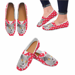 Custom Cat Photo & Dot Casual Canvas Women's Shoes - myphotowears