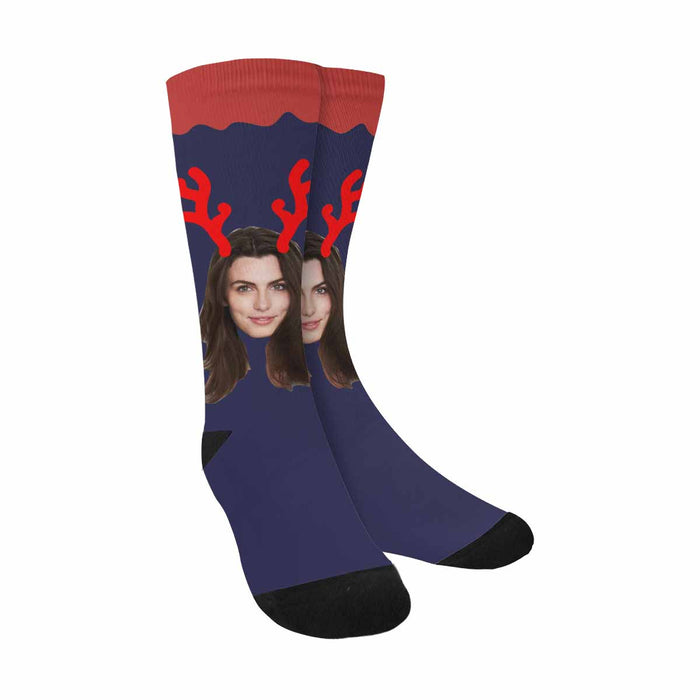 Custom Photo & Antlers Socks