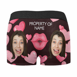 Custom Face Or Name & Lips Men's All Over Print Boxer Briefs - myphotowears