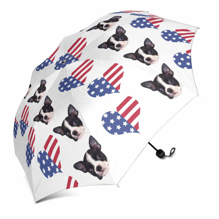 Custom Dog's Photo Sun & Rain Foldable Umbrella- Pet Face& American Flag