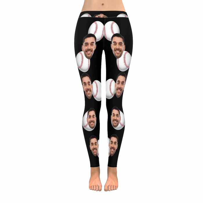 Custom Face Photo & Baseball Print Women's Low Rise Leggings