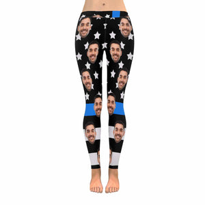 Custom Face Photo & US Flag Low Rise Leggings