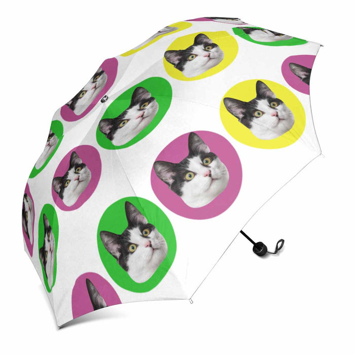 Custom Cat's Face Photo & Color Dot Print Sun & Rain Foldable Umbrella