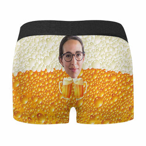 Custom Face & Beer Men's All Over Print Novelty Boxer Briefs - myphotowears