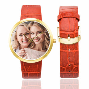 Custom Photo Women's Golden Leather Strap Watch-Mother&Daughter - myphotowears