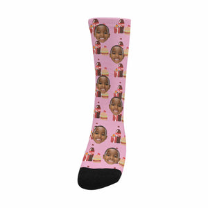 Custom Photo And Burger Combo Patterns Socks - myphotowears