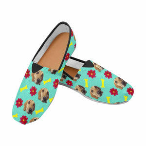 Custom Dog Photo & Bone Casual Canvas Women's Shoes - myphotowears
