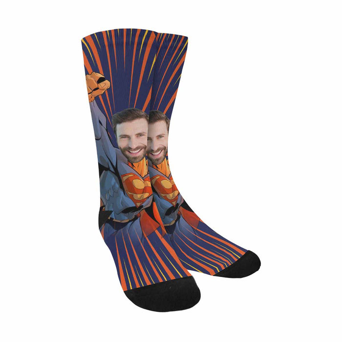 Custom Face & Superman Print Socks