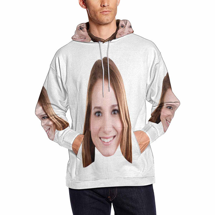Custom Face Photo Men's All Over Print Hoodie Pullove