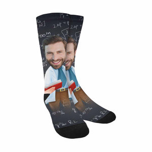 Custom Face & Male Teacher Print Sublimated Crew Socks - myphotowears