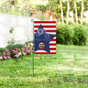 Custom Photo & Star Stripe Garden Flag - myphotowears