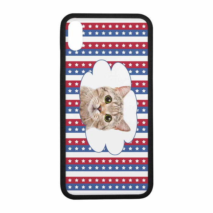Custom Photo Rubber Iphone XR/XS Max/7/8 Cases-Cat's Face & Stars & Stripes Print
