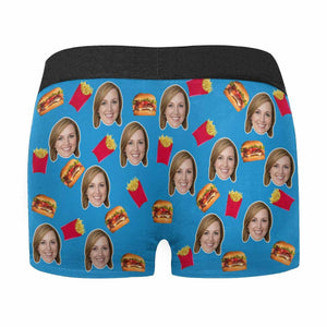 Custom Wife Face Hamburger Blue Men's All-Over Print Boxer Briefs