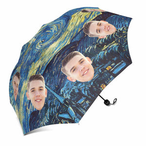 Custom Photo & Starry sky Sun & Rain Foldable Umbrella - myphotowears