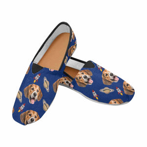 Custom Dog Photo & Planet Rocket Casual Canvas Women's Shoes - myphotowears