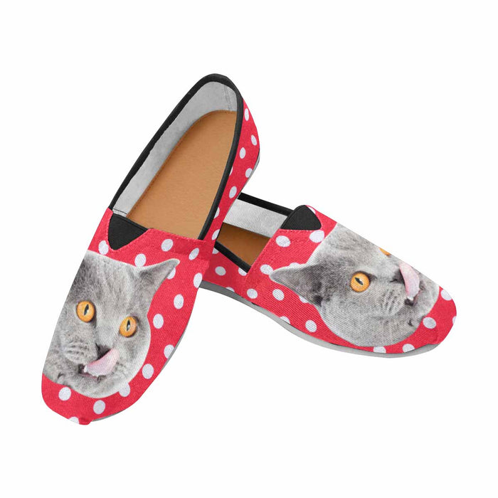 Custom Cat Photo & Dot Casual Canvas Women's Shoes
